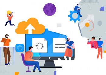 Illustrations flat design concept cloud service technology. People teamwork working together for success business. Decorate with geometric graphic icons. Vector illustrate.