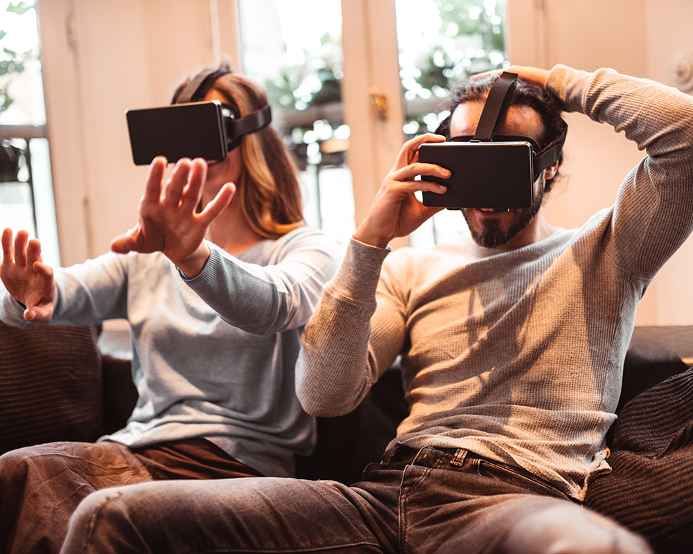 family at home using VR headset